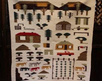 Navajo Native American Pictorial Rug - Wall Hanging, Farming, Tractors, Crops