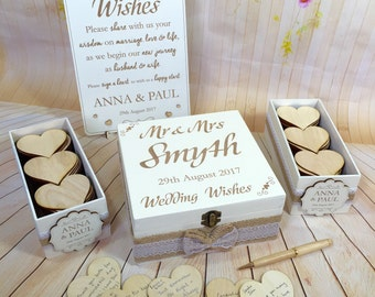 Vintage Rustic Wedding Wish Box Guest Book Alternative Drop in Box Wishes Wood White