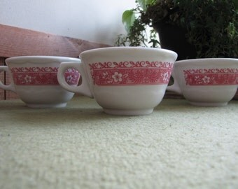 Strawberry Hill Coffee Cup Syracuse China Restaurant Ware Discontinued Set of Three (3) Cups 1970s
