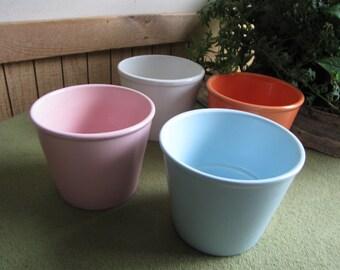 Vintage Ceramic Pots in Four Colors (orange, blue, white, and pink)  Vintage Planters and Pots