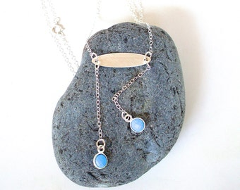 Sterling Silver Personalized Necklace - Real Turquoise