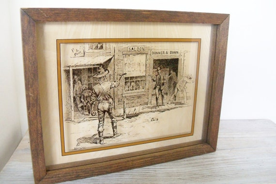 Vintage Shadow Box Photography on Glass Cowboy Western Scene Lucid Lines Shootout Signed Frederick Remington Wood Frame Culver City 1974