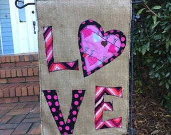 Valentine Burlap Garden Flag
