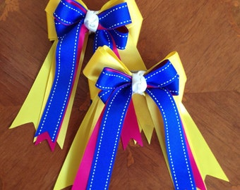 Hair Bows for Horse Shows/Beautiful Bright Blue Yellow