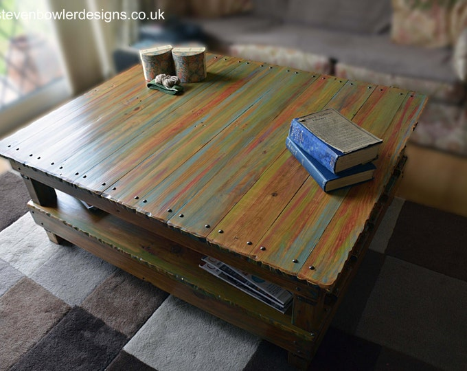 FREE UK SHIPPING Handcrafted to Order Rustic Reclaimed Wood Coffee Table in Hand Painted Red Green & Blue Boat Wood Style Finish