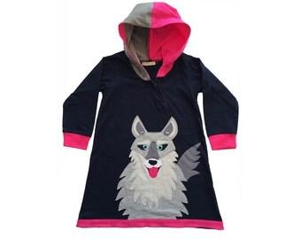 Wolf Hoodie Dress in Pink & Black