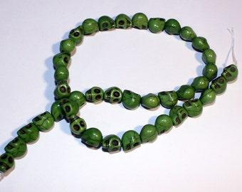 Green Howlite Skull Small Beads, Green Skull Beads, Strand of Skull Beads