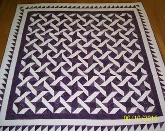 Full Size Quilt Purple and White Handmade