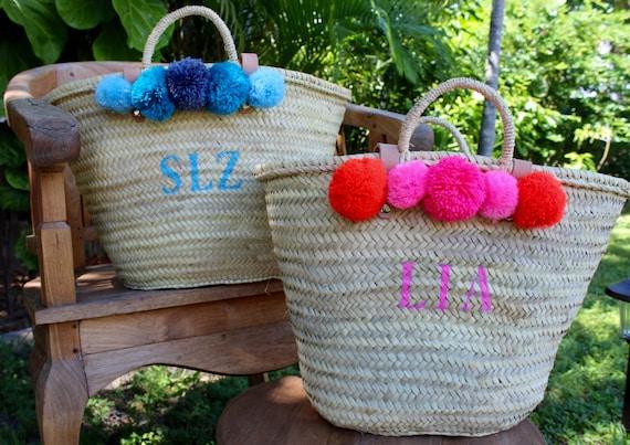 monogrammed bag with pompoms pompom straw bag personalized