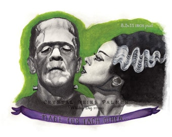 Watercolor Painting Pencil Drawing of Frankenstein & Bride - 8.5x11 inch Art PRINT