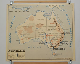 Old maps of geography double sided - Australia / Asia Economic - school poster of French school of the 1950/60s