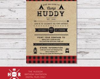 Printable - The 'Hudson' Camping | Lumberjack | Woodland | Forest | Outdoor | Adventure Birthday Invitation