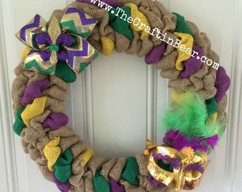 Mardi Gras burlap wreath - Mardi Gras wreath - Mardi Gras decor - Fleur De Lis Wreath - Fleur De Lis Decor - Fat Tuesday Decor - Chevron