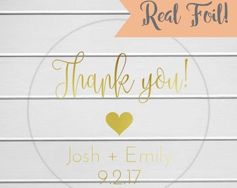 Thank You Stickers, Gold Foil on Clear Transparent Wedding Favor Labels, Wedding Favor Stickers (#196-CF)