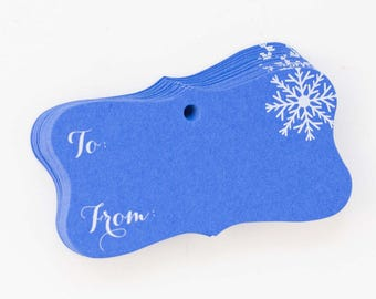 Snowflake Gift Wrap Tags - 20pk, To From Gift Tags (FR-189)