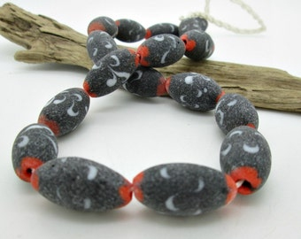 Large Indonesian Glass Oval Bead, Orange Black Glass Bead, 25x15mm (6)