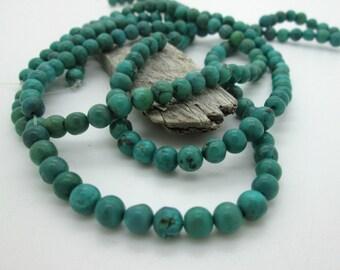 "Green Turquoise Round Bead, 6mm, Hubei Turquoise Bead (7 1/2"" loose)"