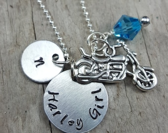 Biker Jewelry Harley Girl Necklace Motorcycle Necklace Hand Stamped Biker Necklace