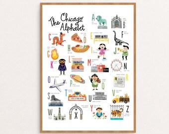 """Chicago Alphabet Art Print / Nursery Art / Wall Art / 11""""x14"""""""
