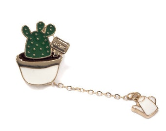potted cactus pin with watering can on chain