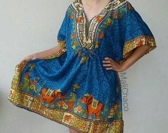 Kaftan, Dashiki, bohemian, Beach Cover Up, Maternity Top, Tunic, Mini dress,  one size fits most.