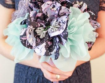 Fabric flower wedding bouquet - Purple & Mint - fabric flowers, brides bouquet, purple, mint, fabric, fabric bouquet, bespoke