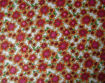 Red & Orange Flowers Cotton Fabric Sold by the Yard