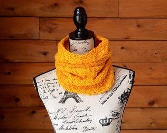 Gifts For Her, Gifts For Him, Chunky Knit Cowl, Infinity Scarf, Yellow Knit Scarf, Gold Knitted Scarf, Gold Circle Scarf, Gold Knitted Cowl