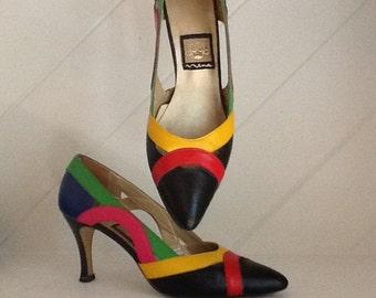 Nina,80's Multicolored Pumps by Nina,Size 7M