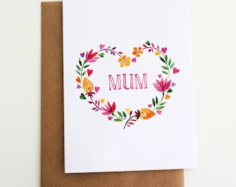 Personalised Card for Her - Card for Mum - Mum Birthday Card - Mothers Day Card - Mum Card - 'Floral Heart' Card - Personalised Name Card
