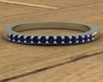 Curved Wedding Band - Blue Sapphire - Thin - 14k White Gold - An Original Design by Charles Babb