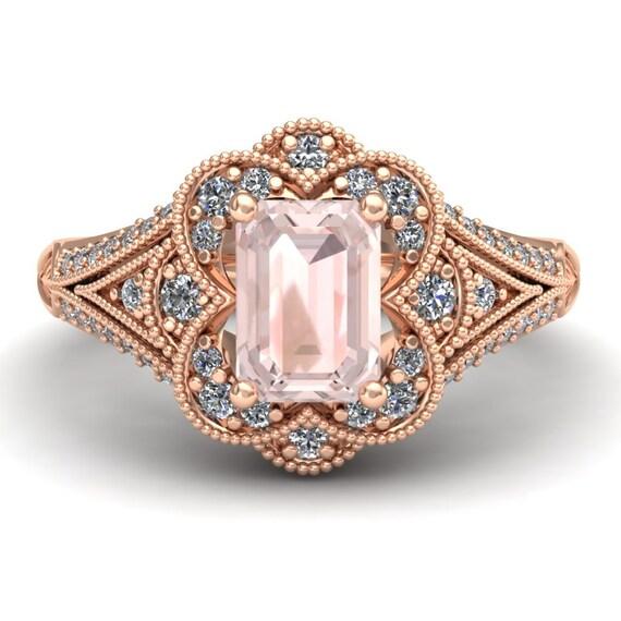 morganite engagement ring emerald cut by charlesbabbdesigns