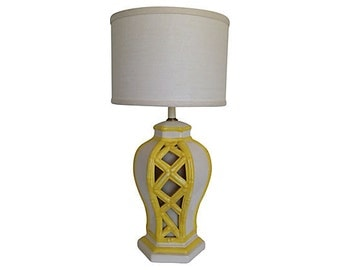 1950s Bamboo-Style Ceramic Lamp w/Base Light