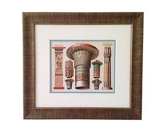 Framed Antique Egyptian Capitals Lithograph, 1888
