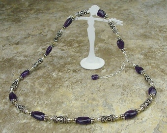 Gift Boxed Bali Sterling Silver Genuine Amethyst Necklace