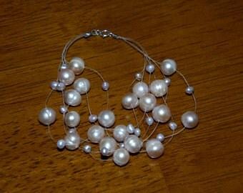 Wedding Prom Bridal Sterling Silver Floating Light Lavender Pearl Illusion Bracelet