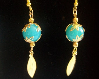 Blue and gold earring