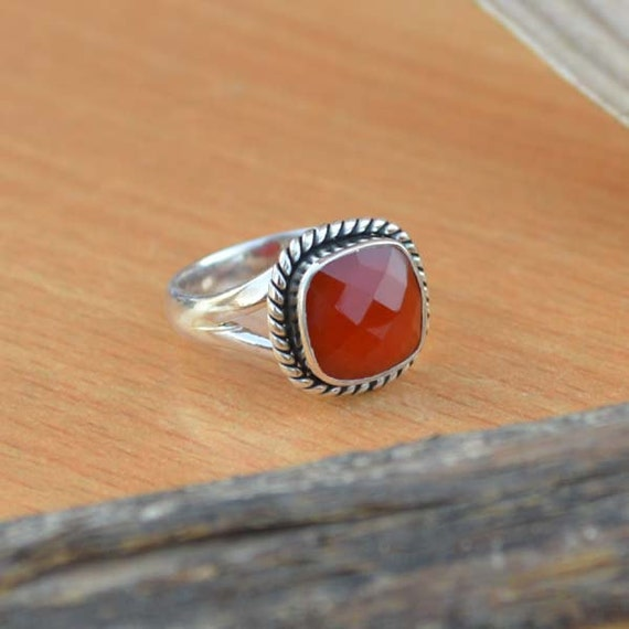 Sterling Silver Statement Ring, Faceted Red Onyx Ring, Onyx Ring, Red Ring,Bezel Set Ring,Birthstone Ring, Red Ring,Silver Ring Size 7
