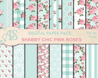 Digital Shabby Chic Pink Roses Paper Pack, 16 printable Digital Scrapbooking papers, retro roses Digital Collage, Instant Download, set 276
