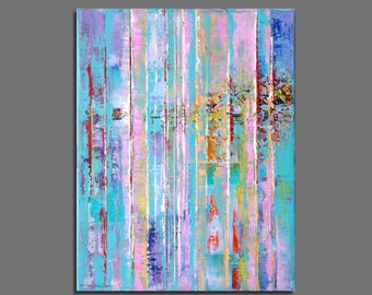 Abstract painting  27x35cm / 10,6x13,8 inches Blue, Green, Pink Abstract Painting Original Modern Small Size