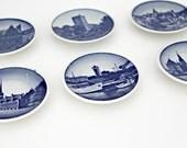 Vintage Royal Copenhagen Miniature Blue & White Plates Set, Mini Plates, Set of Six, Koldinghus Slot, Aluminia Faience Mark