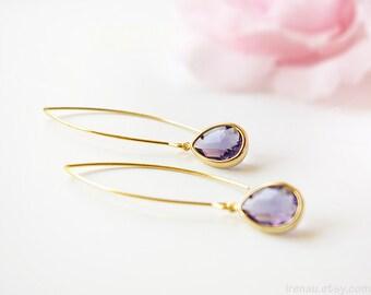 Purple amethyst drop earrings, Gold amethyst teardrop earrings, Purple long dangle earrings,  February birthstone, christmas gift for her