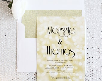 Gold Wedding Invitations, Glitter Wedding Invitations, Gold, Black, White, DEPOSIT to get started