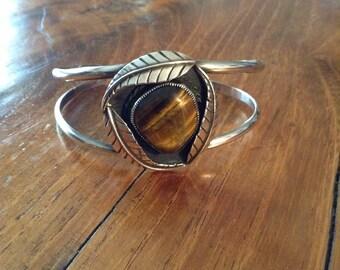 Sterling Native American Tiger's Eye Cuff