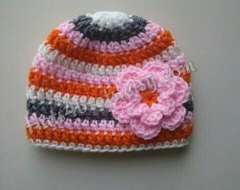 Crochet Baby Hat, Baby Girls Crochet Hat With Flower, Baby Girl Hat, Newborn Girl Hat, Newborn Hat Photo Prop, Baby Crochet Hat, Infant