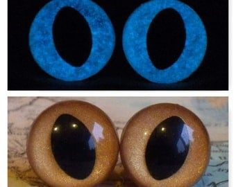 12mm Glow In The Dark Cat Eyes, Metallic Golden Brown Safety Eyes With Blue Glow, 1 Pair Of Glow In The Dark Safety Eyes