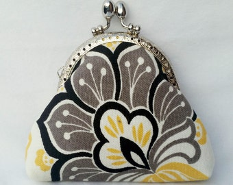 coin purse change purse credit card purse yellow black grey flower floral geometric