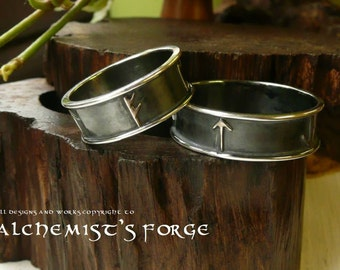 Sterling Silver Runic Hand Fasting Viking Rings, Wedding Rings, Wedding, Bride, Groom, Wedding, Runes, Celtic, Norse, Personal