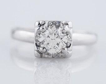 Antique Engagement Ring Art Deco .62ct Round Brilliant Cut Diamond in Vintage 14k White Gold