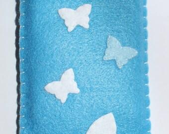 Handmade blue butterfly phone case